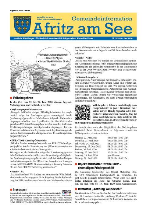 Gemeindeinformationsblatt Juni 2020